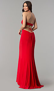 Image of high-neck long Faviana prom dress with cut outs. Style: FA-S10058 Back Image