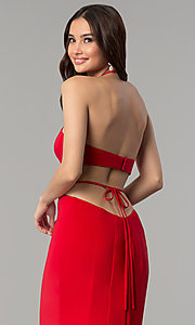 Image of high-neck long Faviana prom dress with cut outs. Style: FA-S10058 Detail Image 2