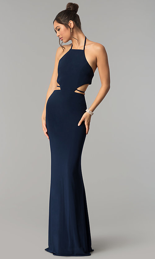 Image of high-neck long Faviana prom dress with cut outs. Style: FA-S10058 Front Image