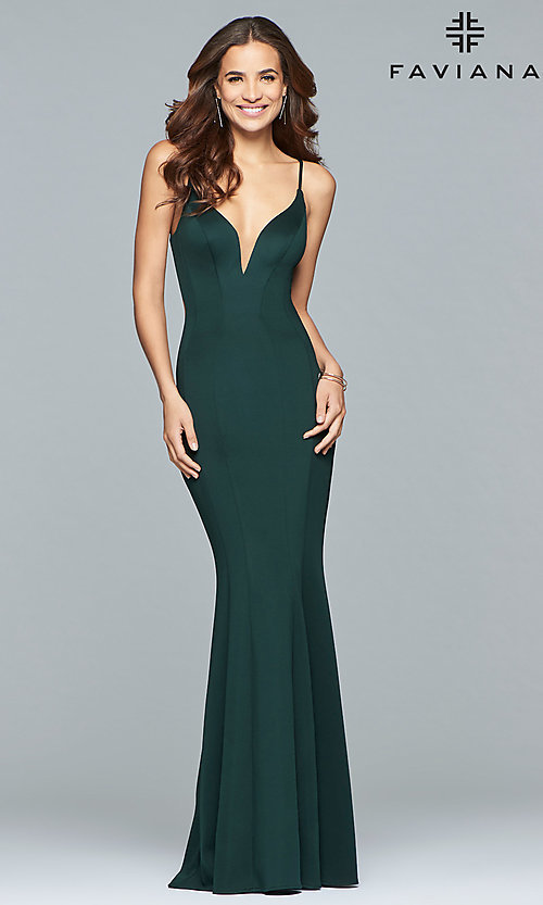 Image of Faviana mermaid prom dress with cut-out open back. Style: FA-10071 Detail Image 3