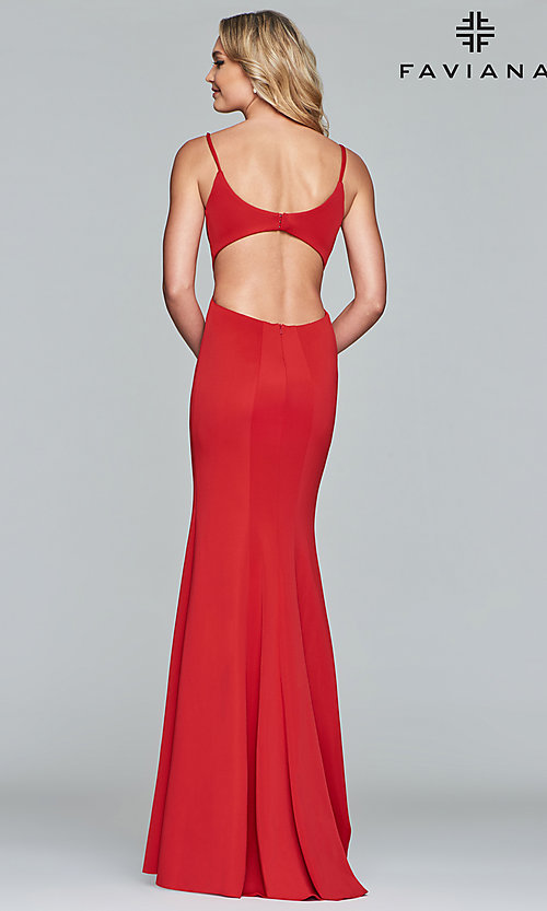 Image of Faviana mermaid prom dress with cut-out open back. Style: FA-10071 Detail Image 4