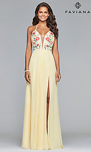 Image of long chiffon open-back embroidered prom dress. Style: FA-10000 Detail Image 2