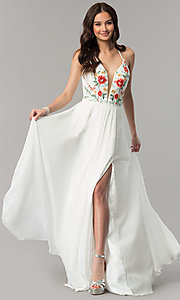 Image of long chiffon open-back embroidered prom dress. Style: FA-10000 Detail Image 1