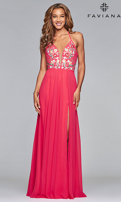 Image of long chiffon open-back embroidered prom dress. Style: FA-10000 Detail Image 4