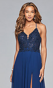Image of chiffon prom dress with sheer embroidered bodice. Style: FA-10005 Detail Image 1