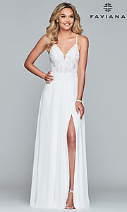 Image of chiffon prom dress with sheer embroidered bodice. Style: FA-10005 Detail Image 7