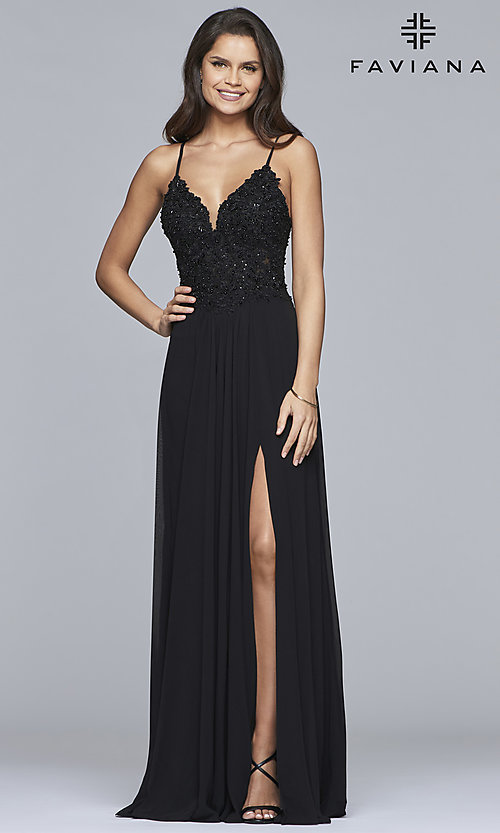Image of chiffon prom dress with sheer embroidered bodice. Style: FA-10005 Detail Image 3