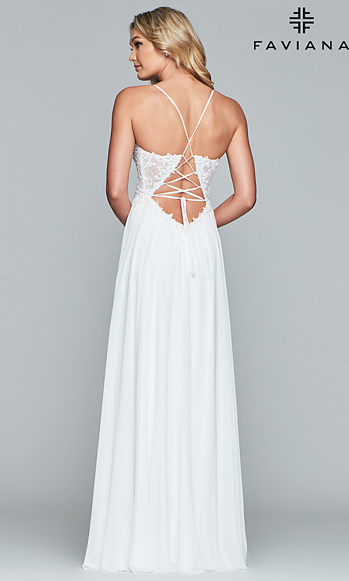 Image of chiffon prom dress with sheer embroidered bodice. Style: FA-10005 Detail Image 4