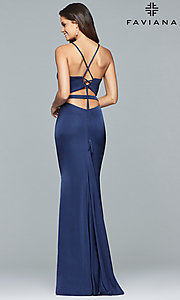 Image of Faviana two-piece long prom dress in matte satin. Style: FA-S10013 Back Image