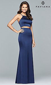 Image of Faviana two-piece long prom dress in matte satin. Style: FA-S10013 Detail Image 3