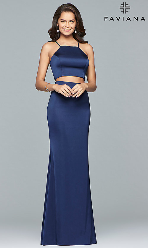 Image of Faviana two-piece long prom dress in matte satin. Style: FA-S10013 Detail Image 2