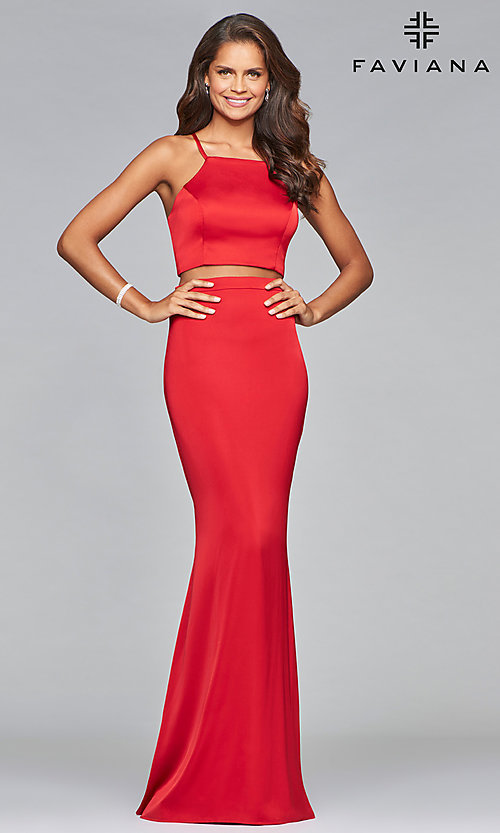 Image of Faviana two-piece long prom dress in matte satin. Style: FA-S10013 Front Image