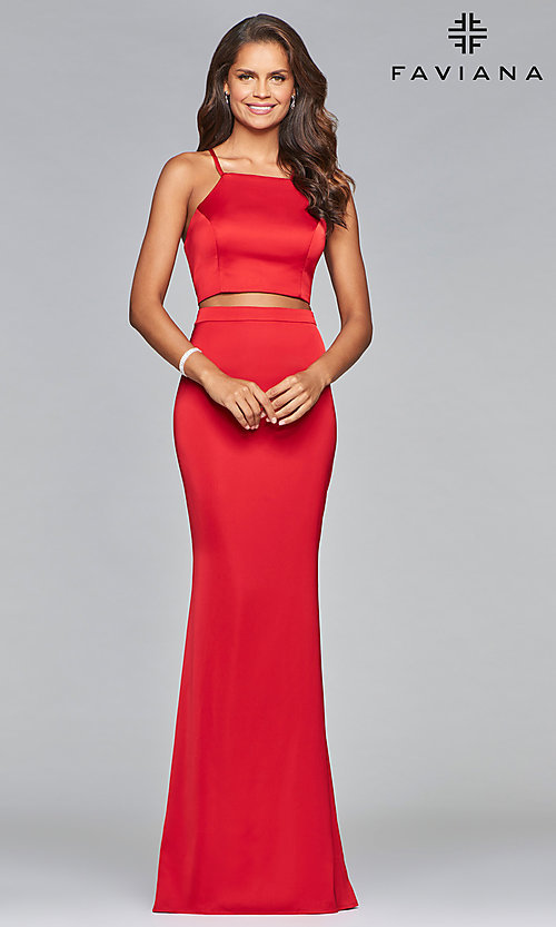 Image of Faviana two-piece long prom dress in matte satin. Style: FA-S10013 Detail Image 1
