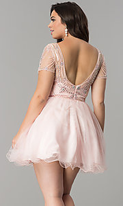 Image of plus-size tulle party dress with sheer short sleeves. Style: DQ-2028P Back Image