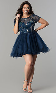 Image of plus-size tulle party dress with sheer short sleeves. Style: DQ-2028P Detail Image 1