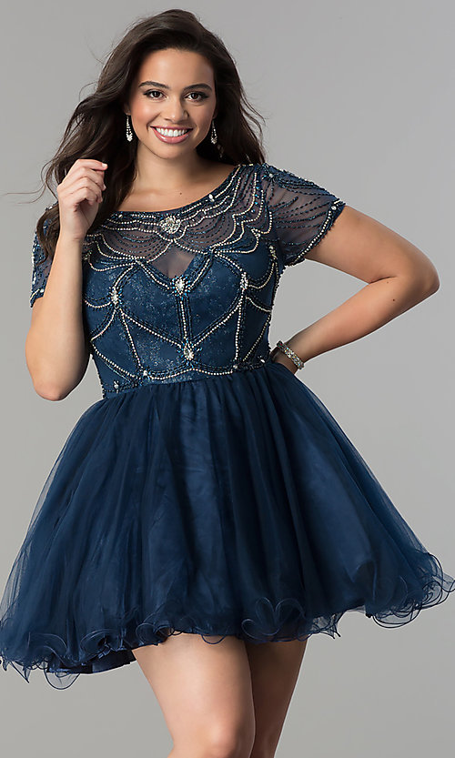 Image of plus-size tulle party dress with sheer short sleeves. Style: DQ-2028P Front Image