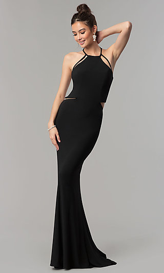 Faviana Long Jersey Prom Dress with Strappy Open Back