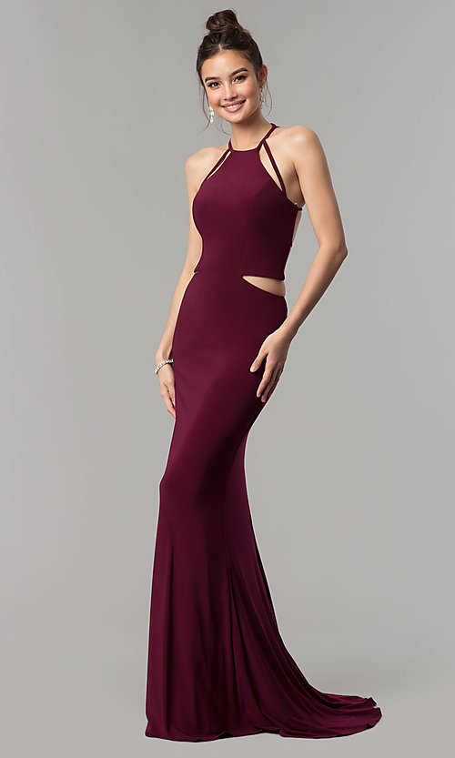 Image of Faviana long jersey prom dress with strappy open back. Style: FA-10014 Back Image