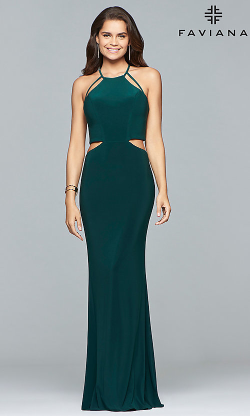 Image of Faviana long jersey prom dress with strappy open back. Style: FA-10014 Detail Image 2