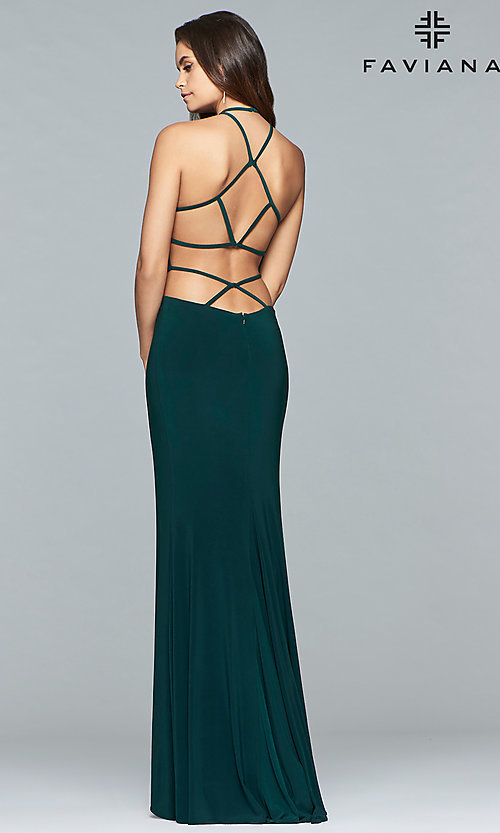 Image of Faviana long jersey prom dress with strappy open back. Style: FA-10014 Detail Image 3