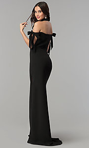 Image of off-the-shoulder long prom dress with collar. Style: FA-S10075 Back Image