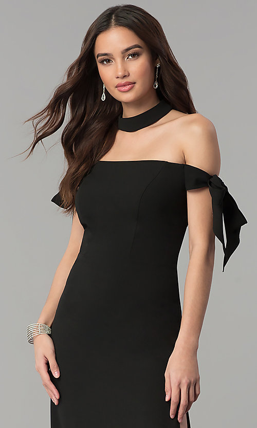 Image of off-the-shoulder long prom dress with collar. Style: FA-S10075 Detail Image 1