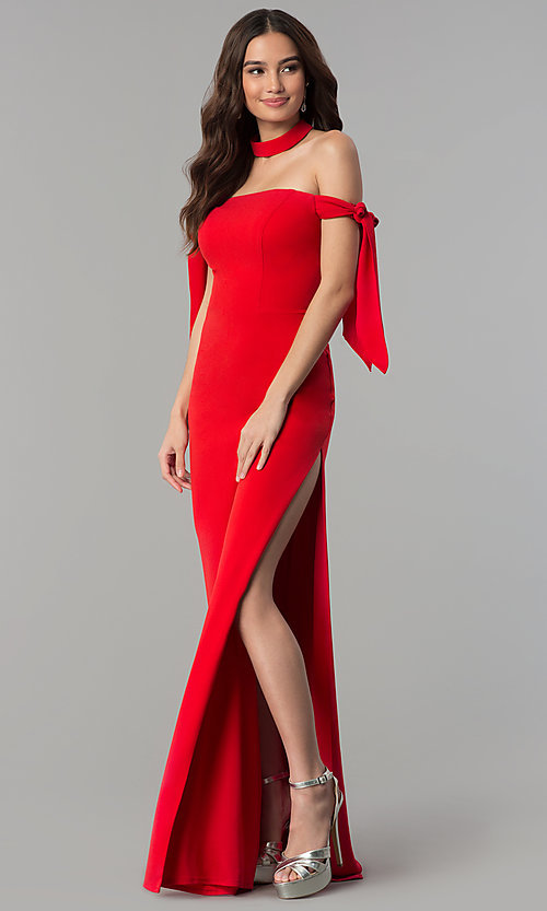 Image of off-the-shoulder long prom dress with collar. Style: FA-S10075 Detail Image 3