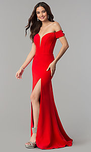 Image of long red Faviana off-the-shoulder prom dress. Style: FA-S10093 Front Image