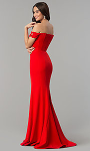 Image of long red Faviana off-the-shoulder prom dress. Style: FA-S10093 Back Image