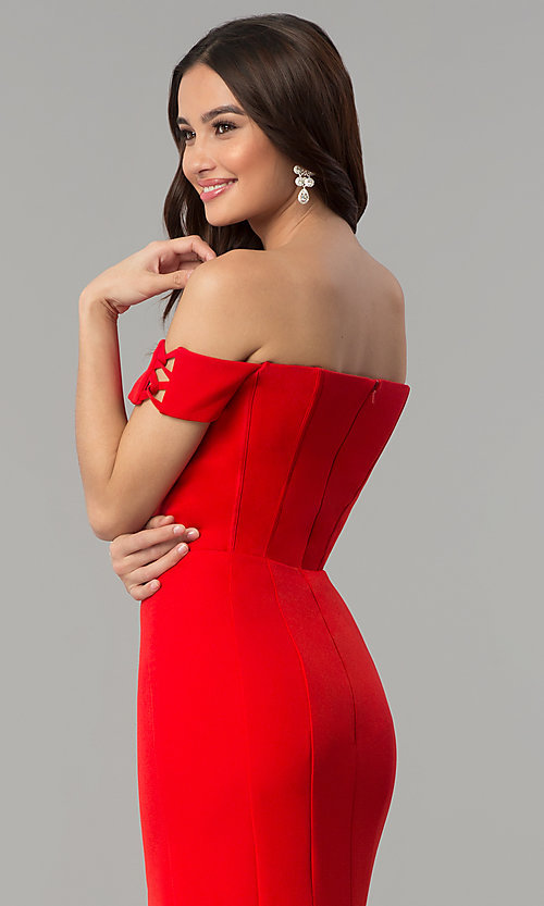 Image of long red Faviana off-the-shoulder prom dress. Style: FA-S10093 Detail Image 2