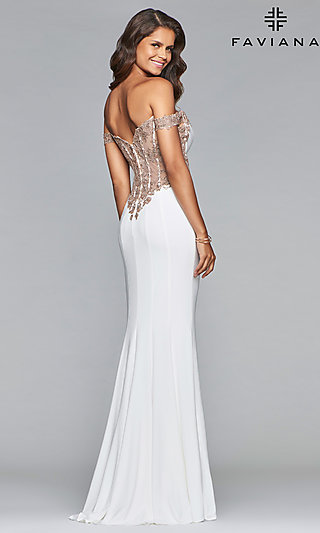 fcfd9982850 Long Jersey Off-Shoulder Prom Dress with Embroidery