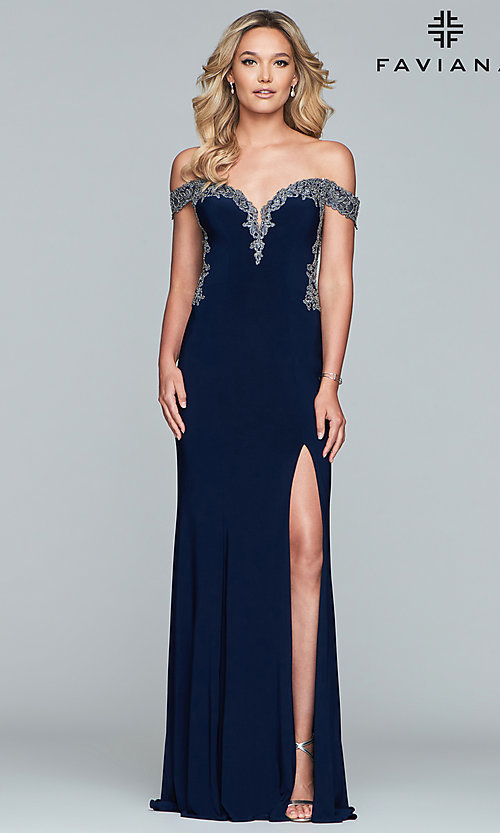 Image of long jersey off-shoulder prom dress with embroidery. Style: FA-S10001 Detail Image 4
