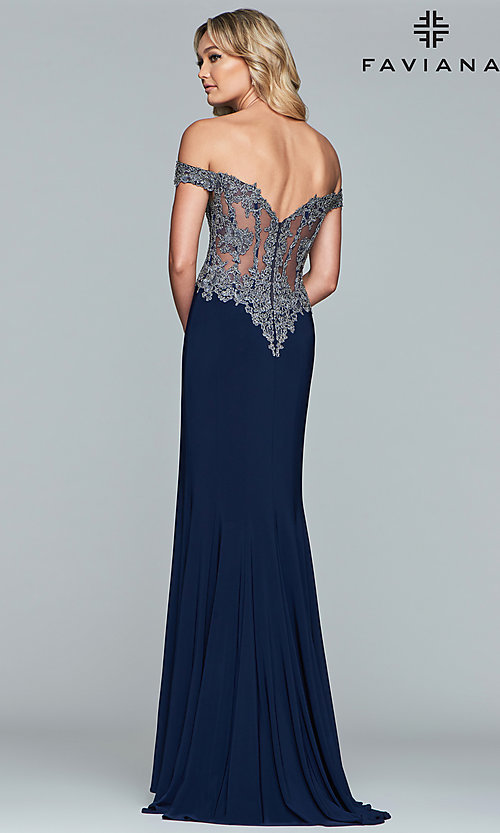 Image of long jersey off-shoulder prom dress with embroidery. Style: FA-S10001 Detail Image 2