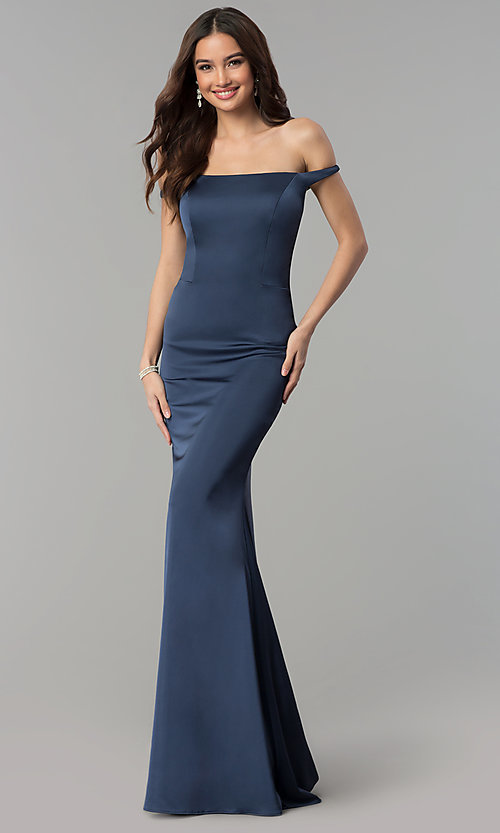 Image of off-the-shoulder Faviana satin prom dress. Style: FA-S10010 Detail Image 1