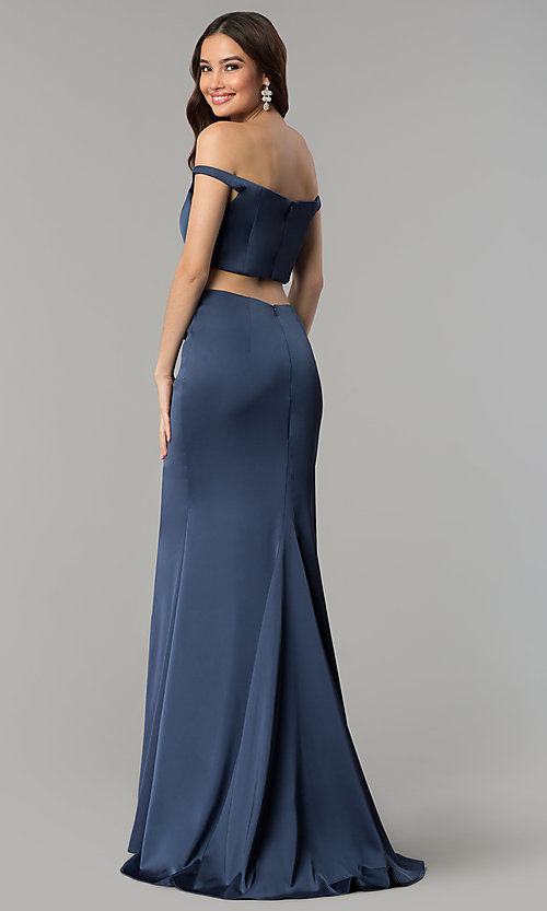 Image of off-the-shoulder Faviana satin prom dress. Style: FA-S10010 Detail Image 3