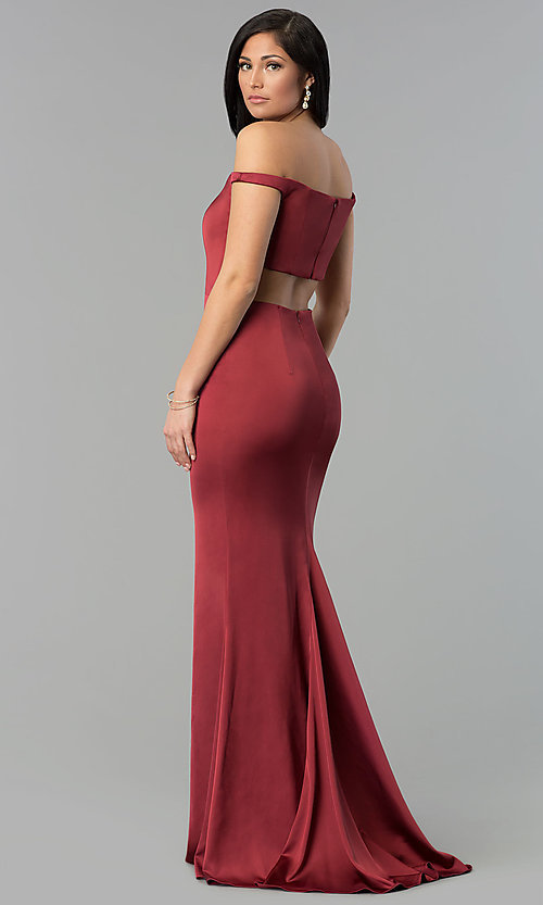 Image of off-the-shoulder Faviana satin prom dress. Style: FA-S10010 Front Image