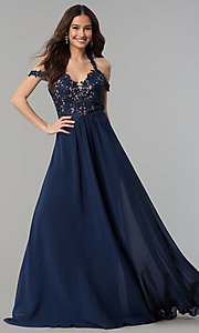 Image of long cold-shoulder chiffon prom dress by Faviana. Style: FA-10006 Detail Image 3