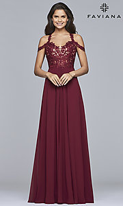 Image of long cold-shoulder chiffon prom dress by Faviana. Style: FA-10006 Detail Image 1