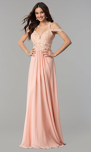 Long Cold-Shoulder Chiffon Prom Dress by Faviana