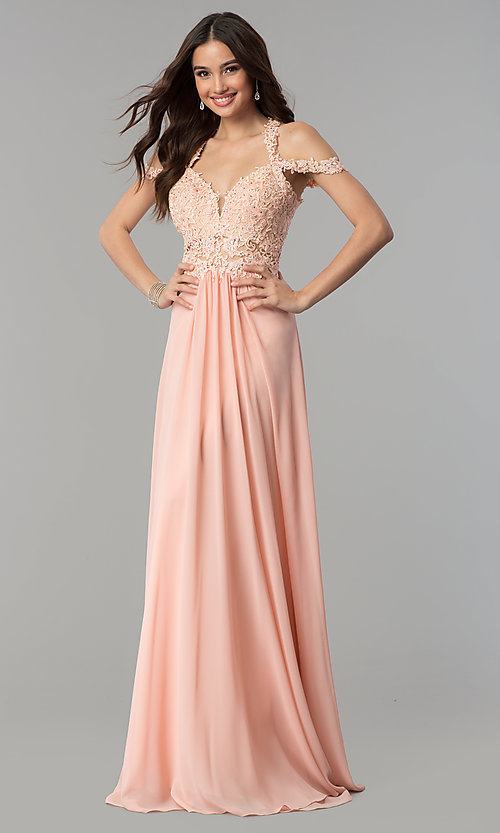 bac5be5d33444 Long Cold-Shoulder Chiffon Prom Dress by Faviana