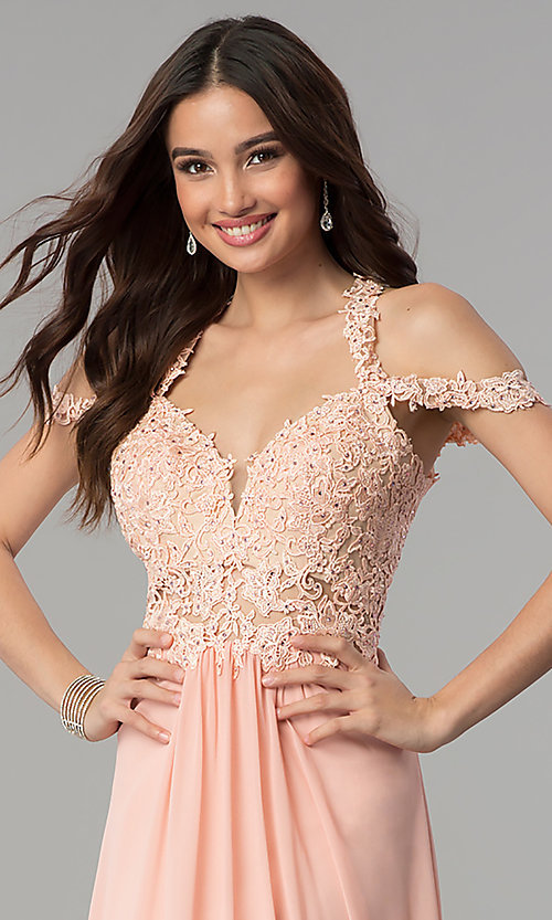 Image of long cold-shoulder chiffon prom dress by Faviana. Style: FA-10006 Detail Image 4