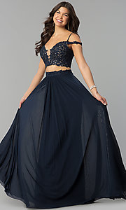 Image of long two-piece off-the-shoulder prom dress. Style: FA-10045 Detail Image 3