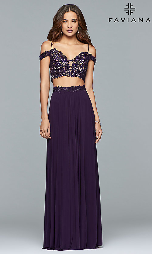 Image of long two-piece off-the-shoulder prom dress. Style: FA-10045 Front Image