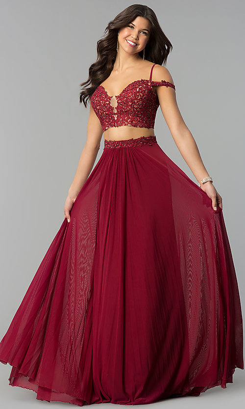 Two-Piece Long Off-the-Shoulder Prom Dress - PromGirl