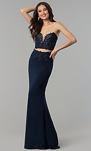 Image long embroidered two-piece Faviana prom dress. Style: FA-10008 Detail Image 2