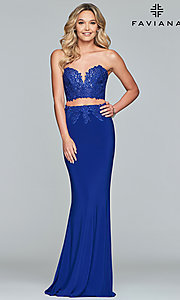Image long embroidered two-piece Faviana prom dress. Style: FA-10008 Front Image