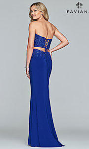 Image long embroidered two-piece Faviana prom dress. Style: FA-10008 Back Image