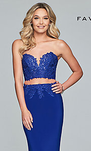 Image long embroidered two-piece Faviana prom dress. Style: FA-10008 Detail Image 1