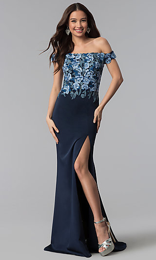 Off-the-Shoulder Embroidered Prom Dress