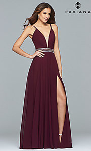 Long V-Neck Chiffon Prom Dress with a Beaded Waist